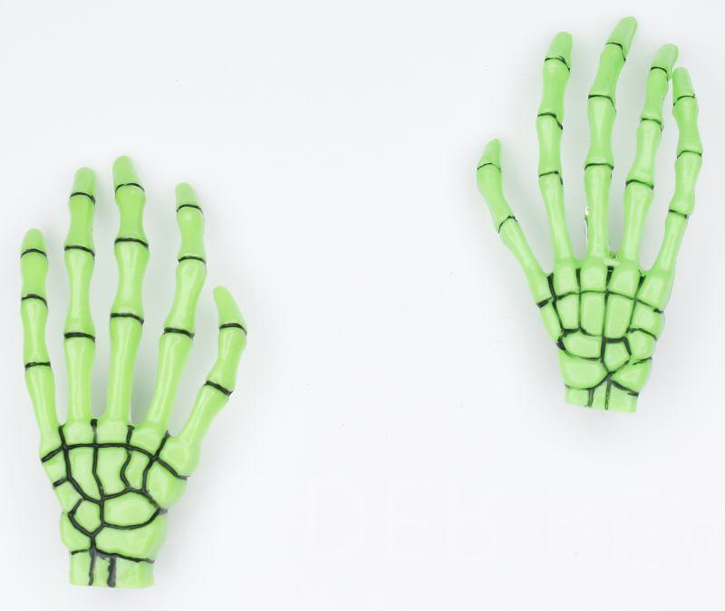 Haarspange (Paar) - Skeletthand Hände - Grün mit Schwarz