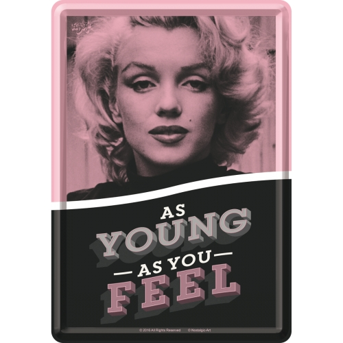 Blechpostkarte - Marilyn Monroe - As Young As You Feel