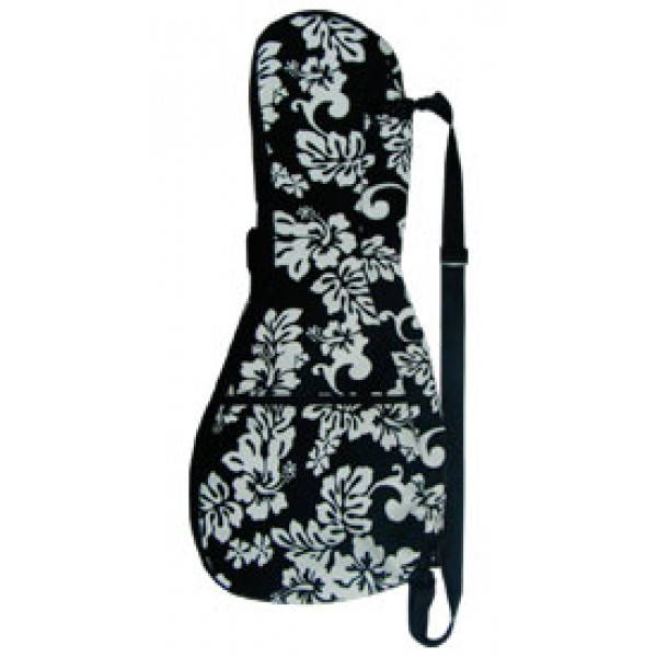 Ukulele Case - Deluxe Canvas - Black Floral - Standard - CL