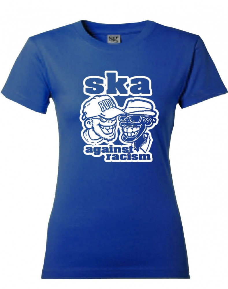 Girl-Shirt - Busters - Ska Against Racism, blau