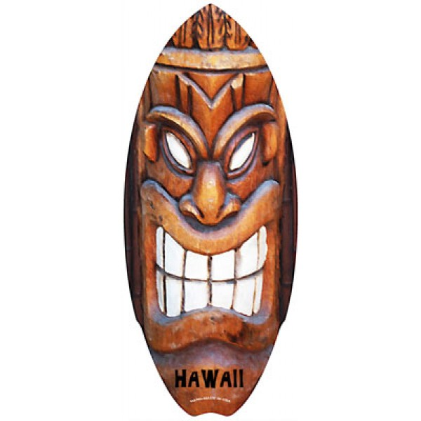 Mini Wood Surfboard - Tiki Grin