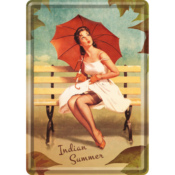 Metal Postcard - Pin Up - Indian Summer