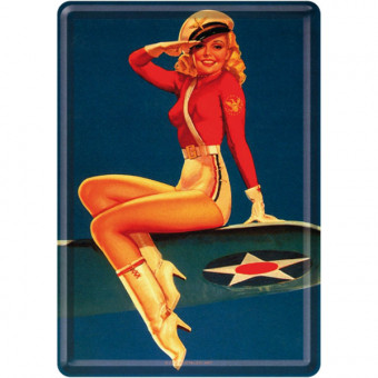Blechpostkarte - Pin Up - Airforce