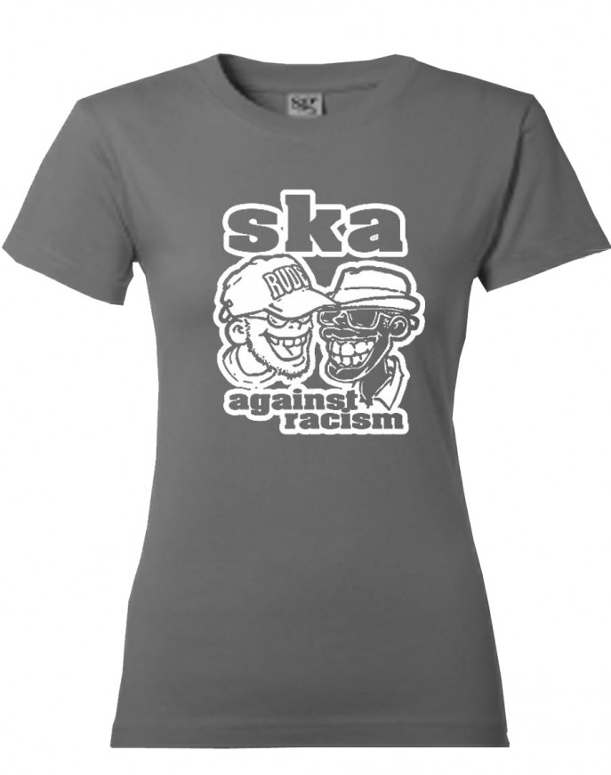 Girl-Shirt - Busters - Ska Against Racism, grau