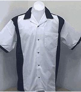 Retro Bowlingshirt - White-Black