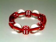 Armband mit Würfel und Olivperlen - rot
