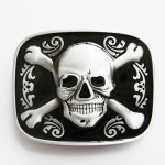 Flaschenöffner Gürtelschnalle - Tattoo Skull Flower Bottle Opener