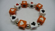 Armband Poker, groß - weiß - orange