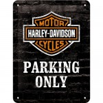 Blechschild 15x20 cm - Harley-Davidson Parking Only