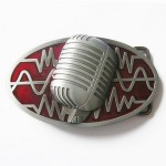 Gürtelschnalle - Microphone Rock Music Red Enamel