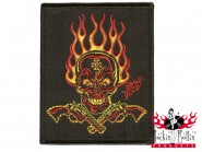 Mighty Texx Aufnäher - Red Yellow Flaming Skull