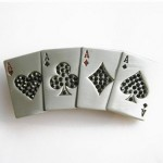 Gürtelschnalle - Rhinestones 4 Ace Poker Card