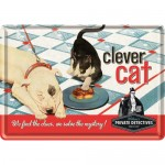 Blechpostkarte - Clever Cat