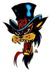 Alan Forbes Aufkleber - Top Hat Cat