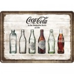 Blechpostkarte - Coca-Cola Bottle Timeline