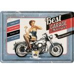 Blechpostkarte - Best Garage - Blue