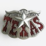 Gürtelschnalle - Western Texas Star Red