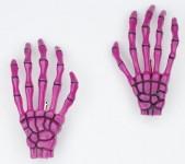 Haarspange (Paar) - Skeletthand Hände - Pink mit Schwarz