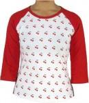 Girl-Shirt - mit Kirschen Ärmel Rot