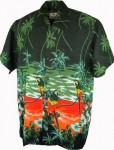 Hawaii - Shirt - Parrot Scene Green