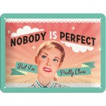 Tin-Plate Sign 15x20 cm - Nobody Is Perfect