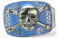 Gürtelschnalle - Jolly Roger - Skull with Bones, light blue Background
