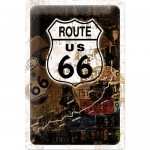 Blechschild 20x30 cm - Route 66 Rost-Collage
