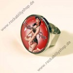 Ring - Bettie Page - Pin Up - Kirschrot