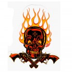 Mighty Texx Aufkleber - Red Yellow Flaming Skull