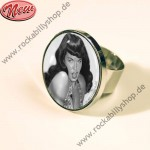 Ring - Bettie Page - Pin Up - Schwarz-Wei�