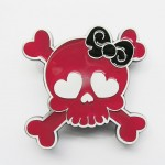 Gürtelschnalle - Girlie Skull Red-Black