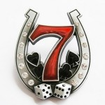 Gürtelschnalle - Seven Mit Hufeisen Kleeblatt - Rhinestones Lucky 7